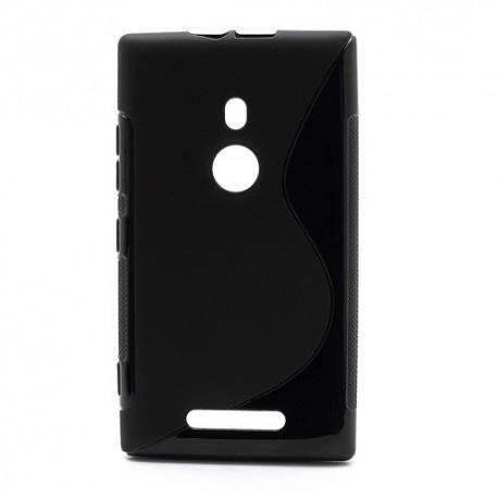 Silikon etui za Nokia Lumia 925 +Folija ekrana, Črna barva