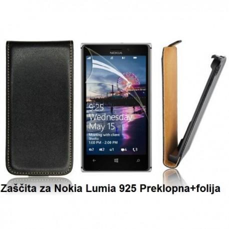 Torbica za Nokia Lumia 925 Preklopna+folija ekrana,Črna barva