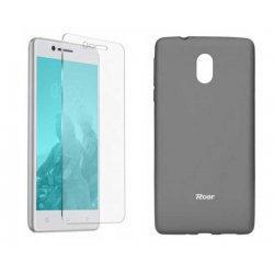 Silikonski etui Roar, siva+ zaščitno steklo za Nokia 3