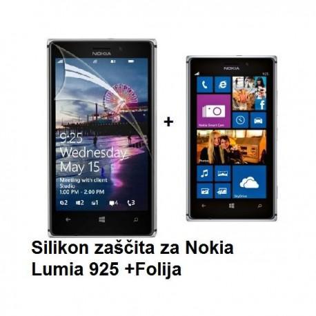 Silikon etui za Nokia Lumia 925 +Folija ekrana, transparent temna