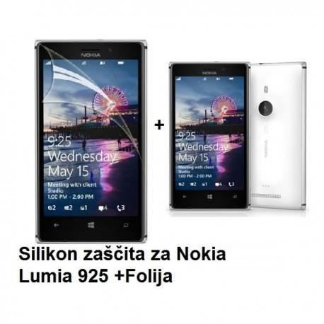 Silikon etui za Nokia Lumia 925 +Folija ekrana, transparentno bela mat