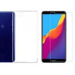 Silikonski etui, prozoren+ zaščitno steklo za Huawei Y5 2018