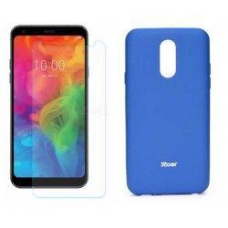 Silikonski etui Roar, modra+ zaščitno steklo za LG Q7