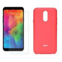Silikonski etui Roar, pink+ zaščitno steklo za LG Q7