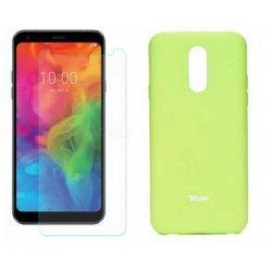 Silikonski etui Roar, zelena+ zaščitno steklo za LG Q7