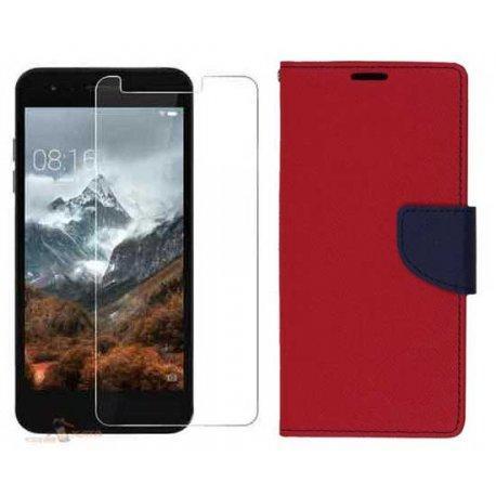 """Etui """"Fancy"""" + zaščitno steklo za LG K9, rdeča barva"""