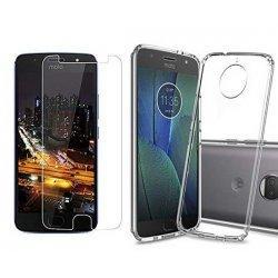 Silikonski etui, prozoren+ zaščitno steklo za Motorola Moto G5s Plus