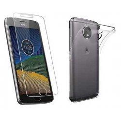 Silikonski etui, prozoren+ zaščitno steklo za Motorola Moto G5S