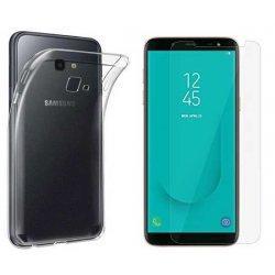 Silikonski etui, prozoren+ zaščitno steklo za Samsung Galaxy J4 Plus