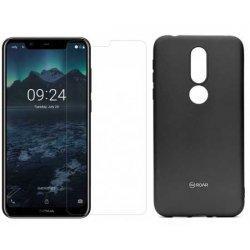 Silikonski etui Roar, črna+ zaščitno steklo za Nokia 7.1