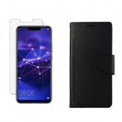 """Etui """"Fancy"""" + zaščitno steklo za Huawei Mate 20 Lite, Črna barva"""