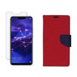 "Etui ""Fancy"" + zaščitno steklo za Huawei Mate 20 Lite, rdeča barva"