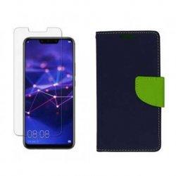 "Etui ""Fancy"" + zaščitno steklo za Huawei Mate 20 Lite, modra barva"