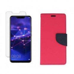 "Etui ""Fancy"" + zaščitno steklo za Huawei Mate 20 Lite, pink barva"