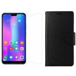 """Etui """"Fancy"""" + zaščitno steklo za Huawei Honor 10, Črna barva"""