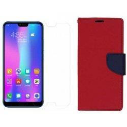 """Etui """"Fancy"""" + zaščitno steklo za Huawei Honor 10, rdeča barva"""