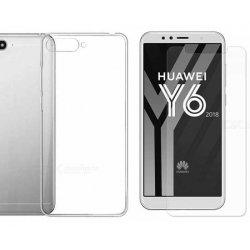 Silikonski etui, prozoren+ zaščitno steklo za Huawei Y6 2018