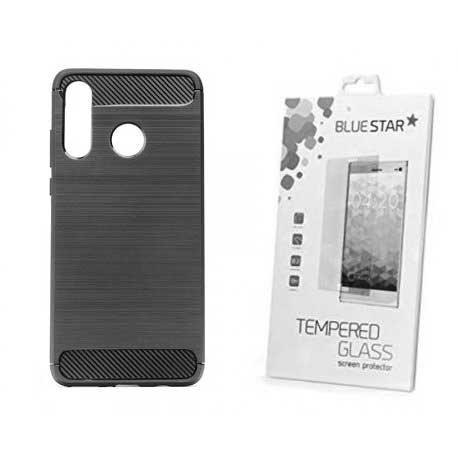"""Etui """"Carbon Case"""" +zaščitno steklo za Huawei P30 Lite"""