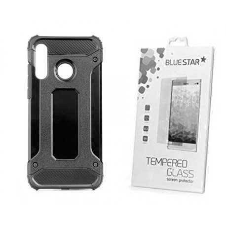 """Etui """"Armor"""" +zaščitno steklo za Huawei P30 Lite, črna barva"""