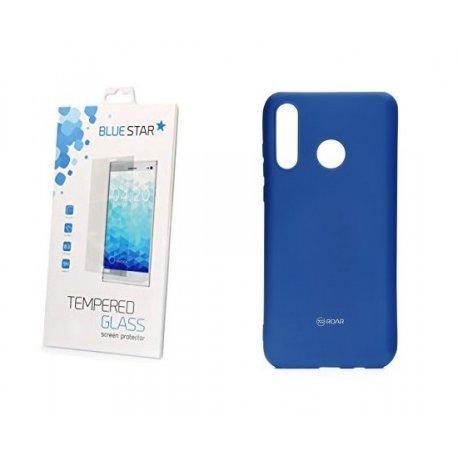 Silikonski etui Roar, modra+ zaščitno steklo za Huawei P30 Lite