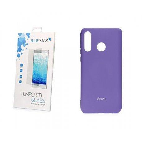 Silikonski etui Roar, vijolična+ zaščitno steklo za Huawei P30 Lite