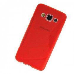 Silikon etui za Samsung Galaxy A3 +Folija ekrana Rdeča barva