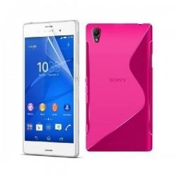 Silikon etui za Sony Xperia Z3 +Folija ekrana ,Pink barva