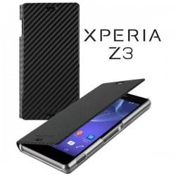 Torbica za Sony Xperia Z3 Preklopna ,Book Case - Carbon Črna Barva SMA5151CF