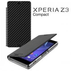 Torbica za Sony Xperia Z3 Compact Preklopna ,Book Case - Carbon Črna Barva