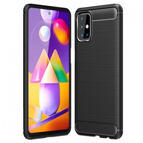 "Etui ""Carbon Case"" za Samsung Galaxy M31s, črna barva"