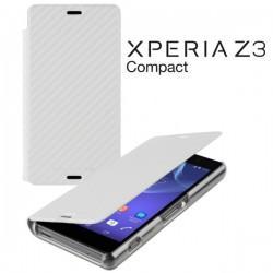 Torbica za Sony Xperia Z3 Compact Preklopna ,Book Case - Carbon Bela Barva