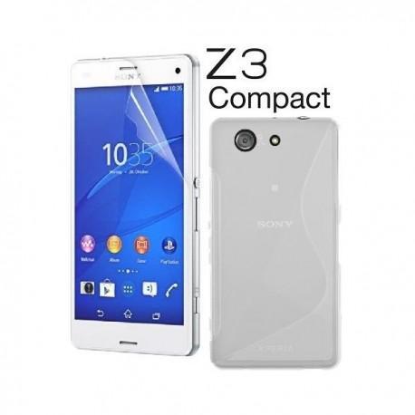 Silikon etui za Sony Xperia Z3 Compact +Folija ekrana Transparent barva