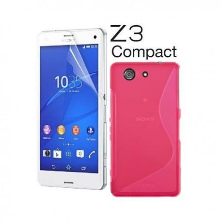 Silikon etui za Sony Xperia Z3 Compact +Folija ekrana Pink barva