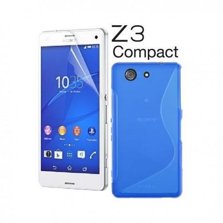 Silikon etui za Sony Xperia Z3 Compact +Folija ekrana Modra barva