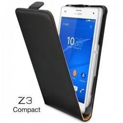 Preklopna Torbica Flexi za Sony Xperia Z3 Compact + folija ekrana Črna barva