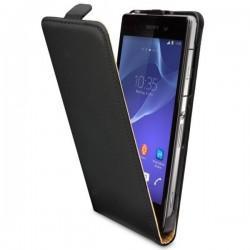 Torbica za Sony Xperia Z2 Preklopna Črna barva+Folija ekrana