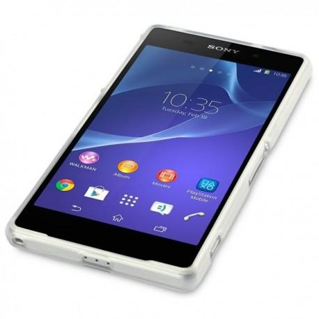 Silikon etui za Sony Xperia Z2 +Folija ekrana Prozorno bela barva