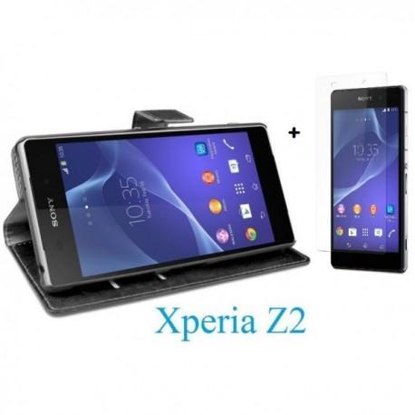 Torbica za Sony Xperia Z2 Preklopna + Kaljeno steklo Črna barva