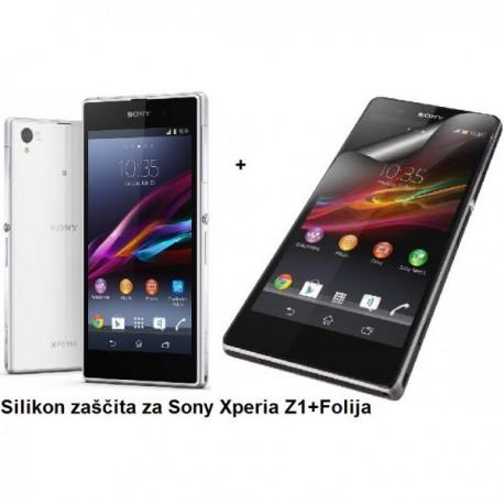 Silikon etui za Sony Xperia Z1 +Folija ekrana, transparentno svetla