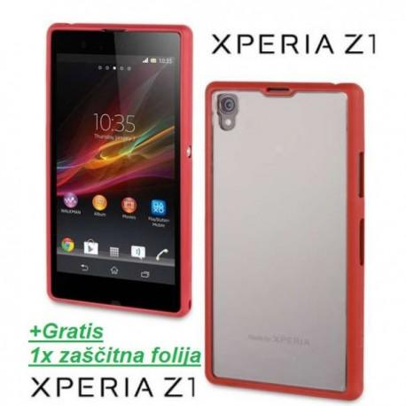 Etui za Sony Xperia Z1 Gel Shell Clear Cover - Monza Red,Rdeča barva.+Gratis folija