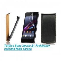 Torbica za Sony Xperia Z1 Preklopna+ zaščitna folija ekrana, Črna barva