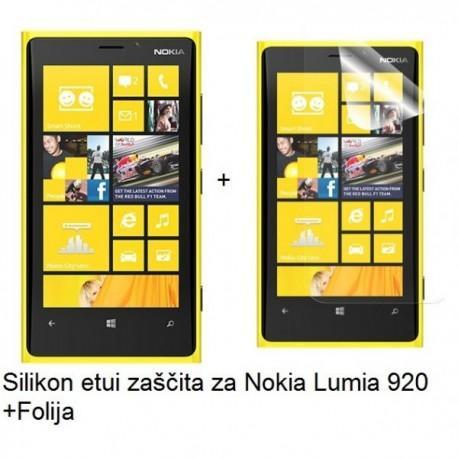 Silikon etui za Nokia Lumia 920 +Folija, transparentno temna