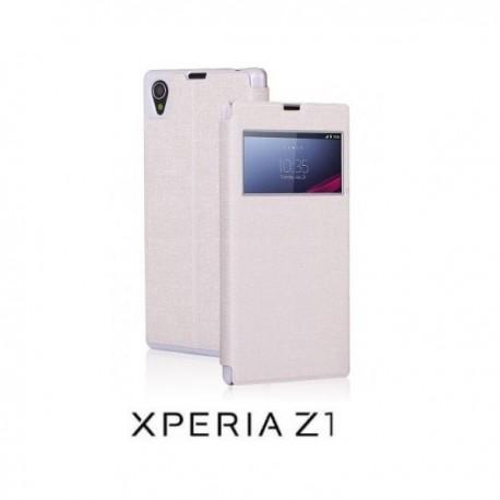 Torbica za Sony Xperia Z1 S-View Preklopna , Bela barva