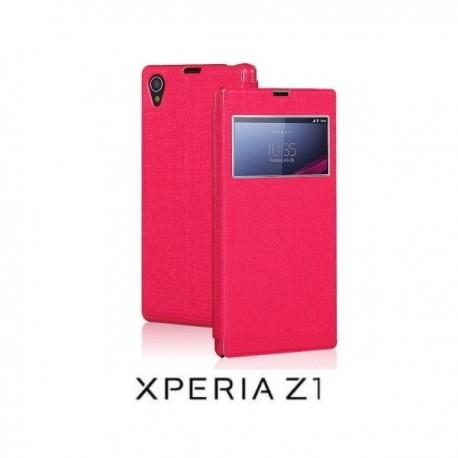 Torbica za Sony Xperia Z1 S-View Preklopna , Pink barva
