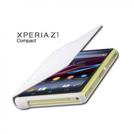 Torbica za Sony Xperia Z1 Compact Preklopna ,Book Case - Carbon Bela SMA5140CW