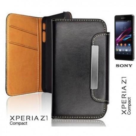 Torbica Etui za Sony Xperia Z1 Compact Preklopna Črna barva