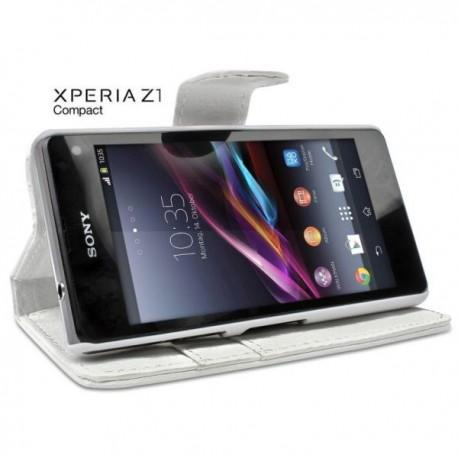 Torbica za Sony Xperia Z1 Compact Preklopna Bela barva+Folija ekrana
