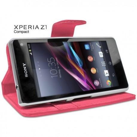 Torbica za Sony Xperia Z1 Compact Preklopna Pink barva+Folija ekrana