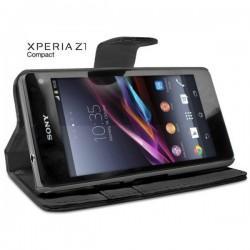 Torbica za Sony Xperia Z1 Compact Preklopna Črna barva+Folija ekrana