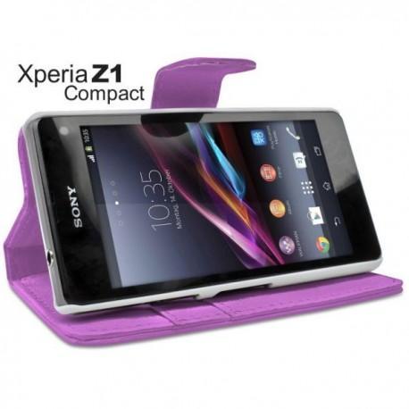 Torbica za Sony Xperia Z1 Compact Preklopna Vijola barva+Folija ekrana